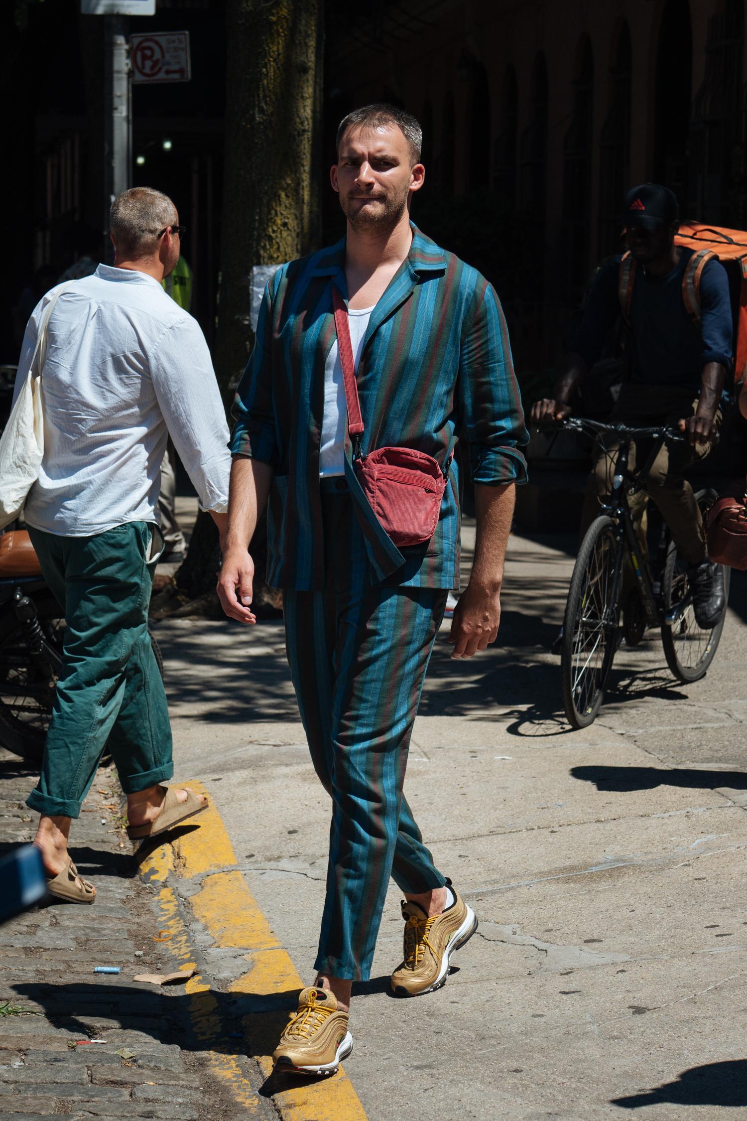 Stripes at  New York Fashion Week: Men's . Captured on my  Olympus OM-D E-M1 II  with a  M.ZUIKO PRO 45mm F1.2 lens.