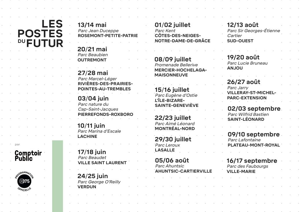 Horaire de la tournée - Été 2017