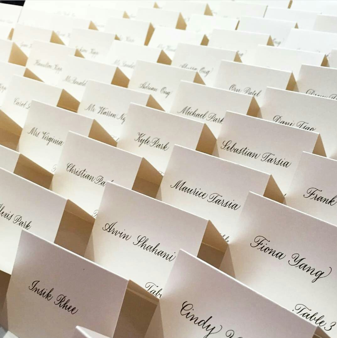 Place cards in Bancroft style