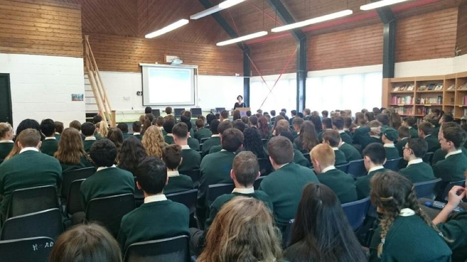 Dr Maureen Griffin and students from Coláiste Chiaráin, Leixlip, Co. Kildare (2015)