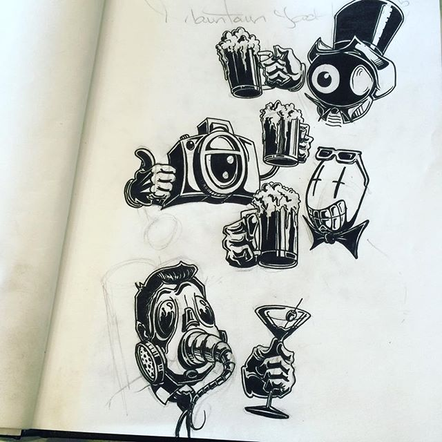 Cheers everyone!!! I hope all of you are having a great week! #blackbook #sketch#drawing#characters#original#wip#blackandwhite#ink#pencil#ducer