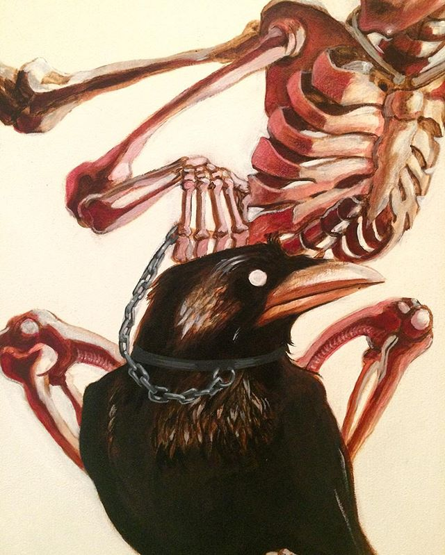 #painting#art#detail#crow#artist#paint#acrylic#penpencil#ducer#skelleton #art#drawing