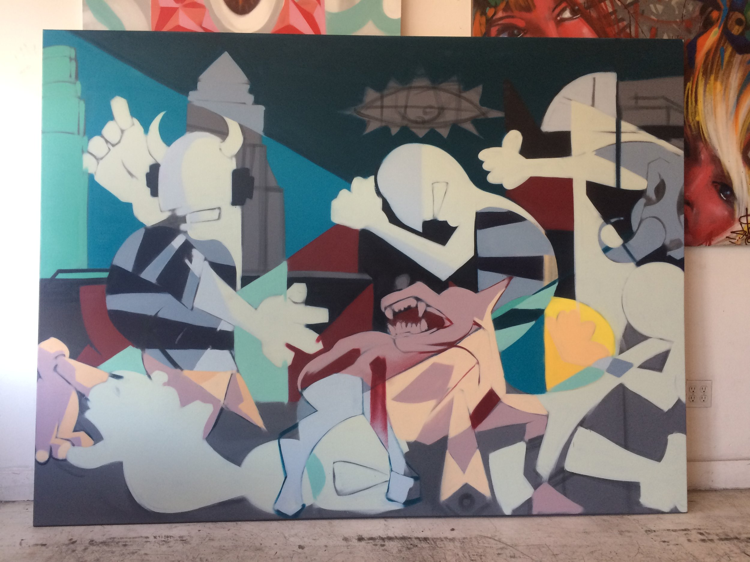 "I started this large painting that was inspired by Picasso's ""Guernica"" for a client."