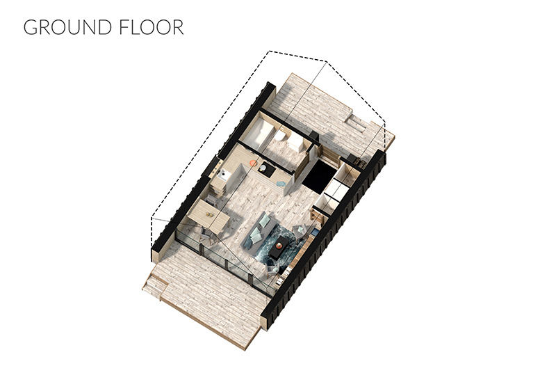 Image 6: Ground floor layout example of 16' tall structure.
