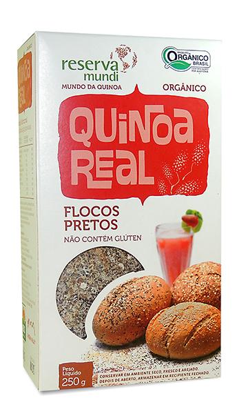 Flocos pretos de quinoa real