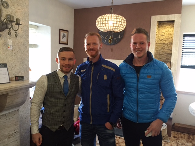 Samuel and Simon McKee meeting Carl Frampton