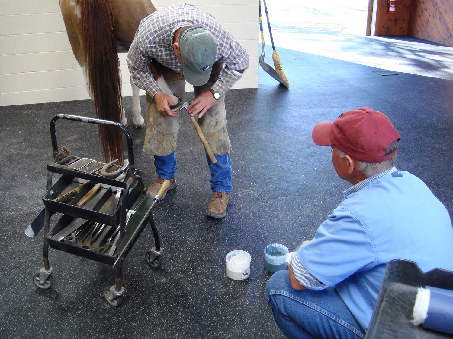 Dr. Jensen and farrier Pete Healey