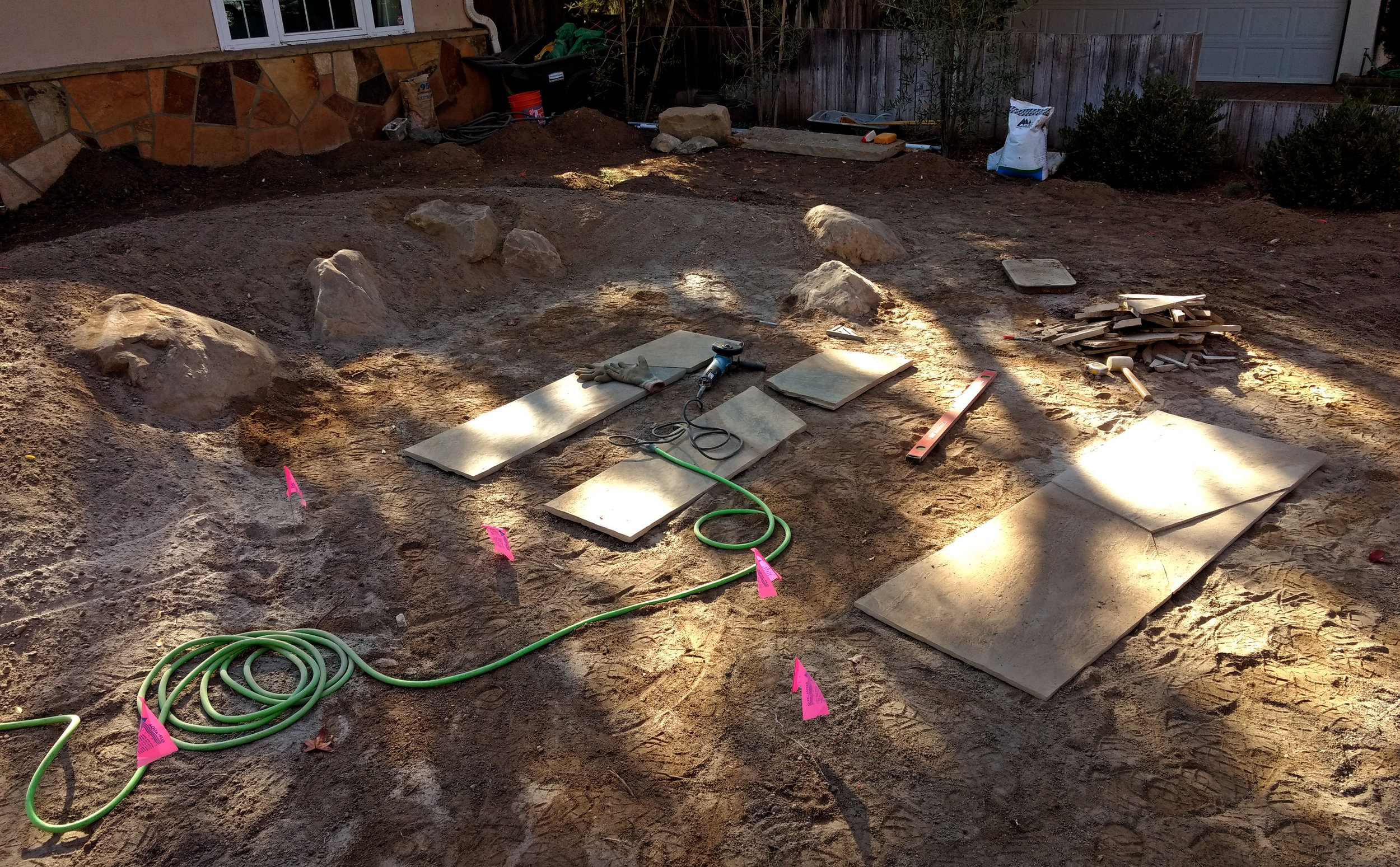 cutting rough flagstone into large scale pavers