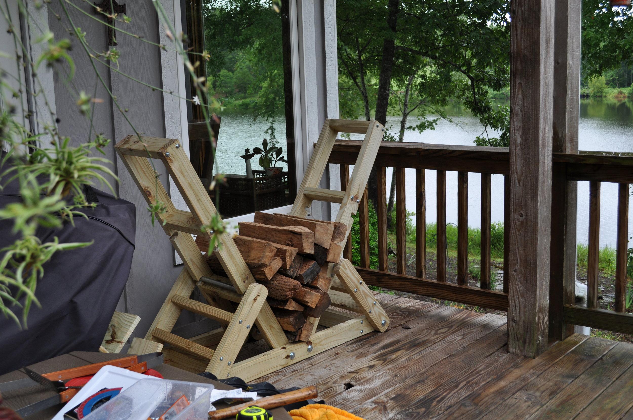 Log Rack /   pressure-treated pine wood, steel tube
