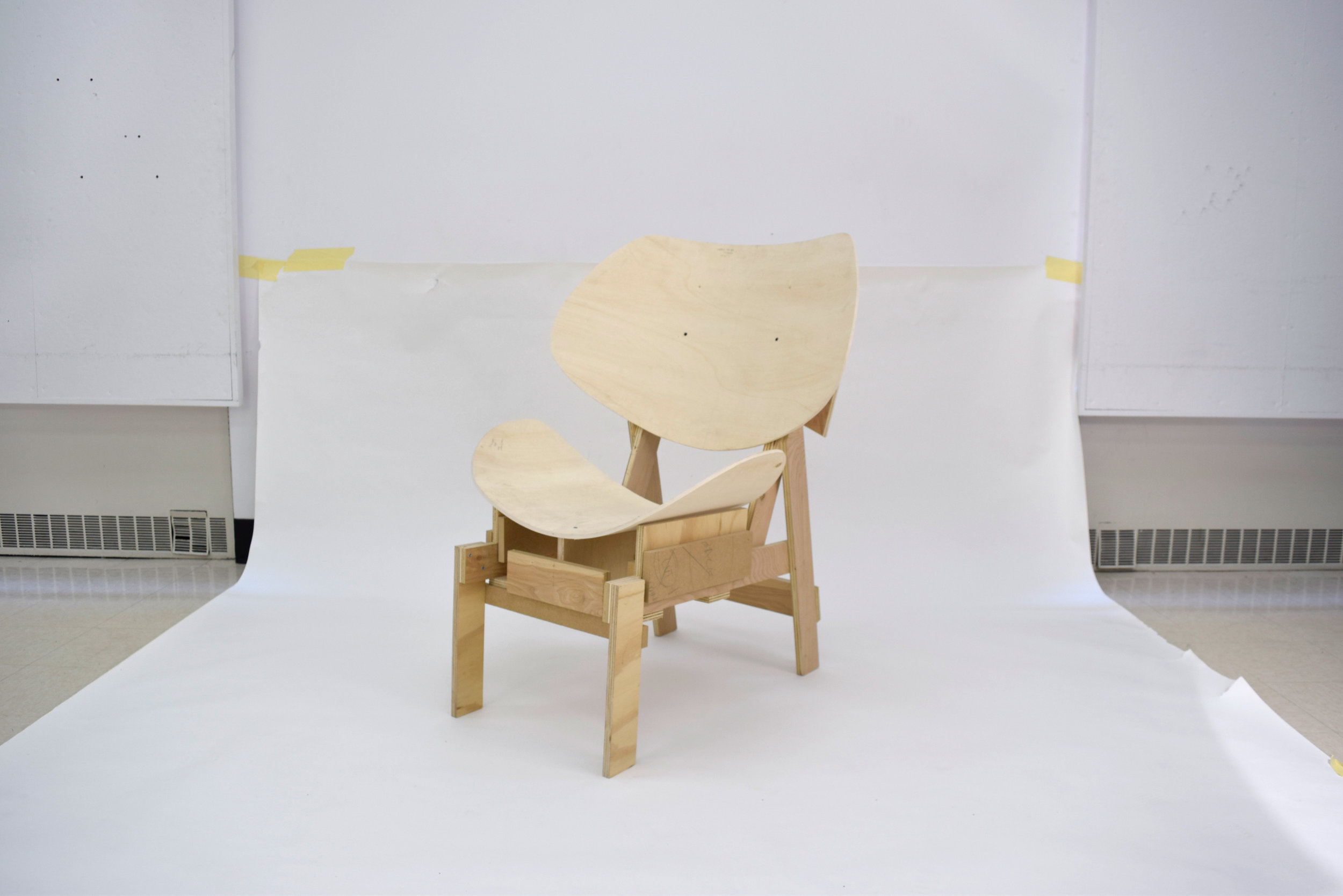 Chair Mockup /   bendable ply, ply + mdf scraps ; seat depth and back height are manually adjusted