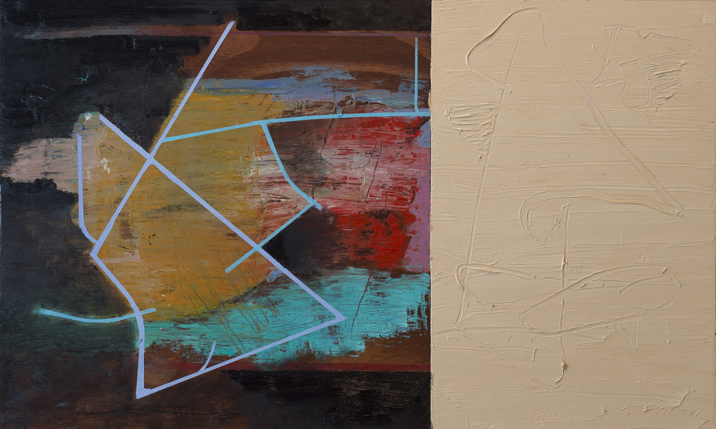 Untitled XIV, oil and stained wood on panel, 24x40 in.