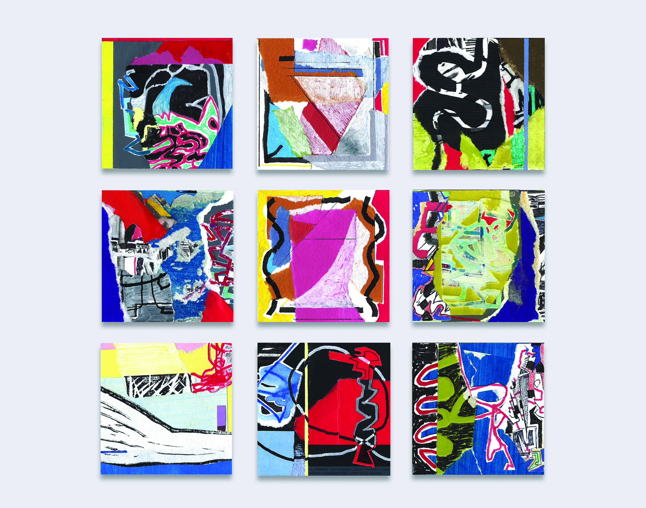 Various Compositions, mixed media collages, each 3x3 in. 2018