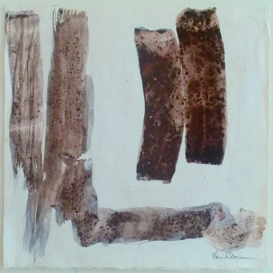 """From Silence, Without Thought. Mineral and oyster shell pigments on Kumohadamashi paper. Sherri Silverman. 2015. 12 2/3"""" x 12 2/3""""."""