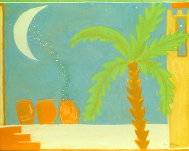 """Gathering Moondust 1. Sherri Silverman. Pastels and pencil on sanded pastel paper. 1987. 22"""" x 28"""". Private collection."""