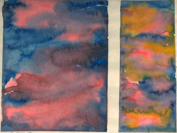 "Iowa Skies 3. Sherri Silverman. Watercolor on paper. 1979. 9"" x 11.5"".  ."