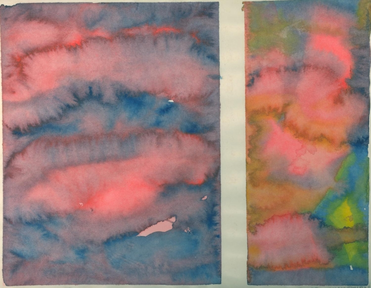 "Iowa Skies 2. Sherri Silverman. 1979. Watercolor on paper. 9"" x 11.5"". Private collection, Torrance, CA."