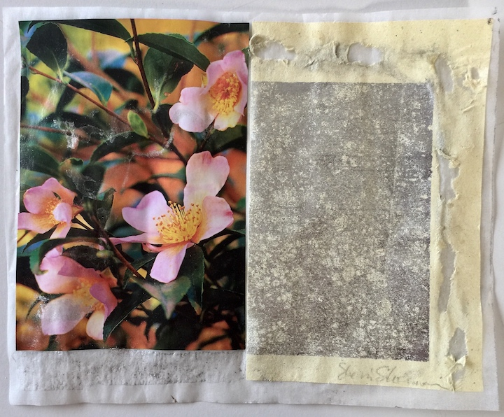 "The Book of Life. Paper, glassine, joss paper, and metalli watercolor collage. Sherri Silverman. 6.25"" x 7.5"". 2014."
