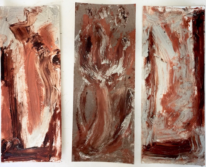 "flowing flowers flowing. Oil on sanded paper triptych. Sherri Silverman.. 3.5"" x 9"" per panel. 2017. rough studio photo."