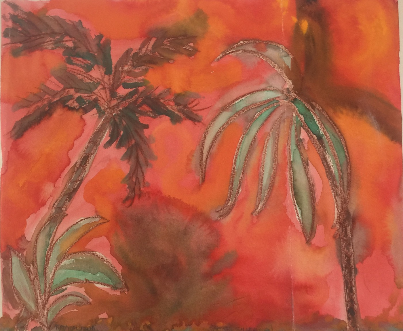"Tropical Heatwave. Watercolor and pastels on paper. Sherri SIlverman. 1979. 14"" x 17"" image, paper slightly larger."