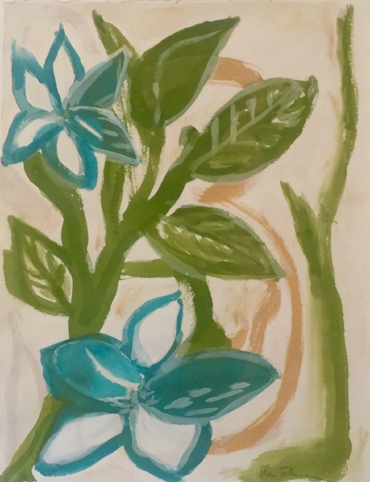 "Blue-Green Boho Flora. Gouache on Arches Cover paper. Sherri Silverman. 2017. 20.5"" x 16""."