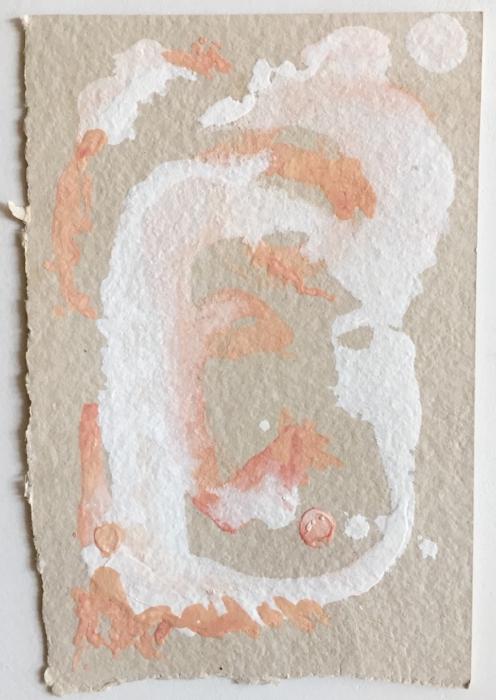 "In Joy. Gouache on handmade, irregularly shaped Larroque Ficelle linen paper. Sherri Silverman. 2018. 7.25"" x 5""."