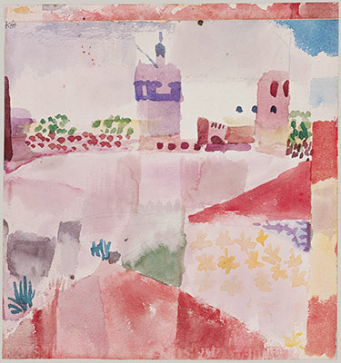 Paul Klee 1914 watercolor and graphite on paper mounted on cardboard, Hammamet with Its Mosque. Metropolitan Museum