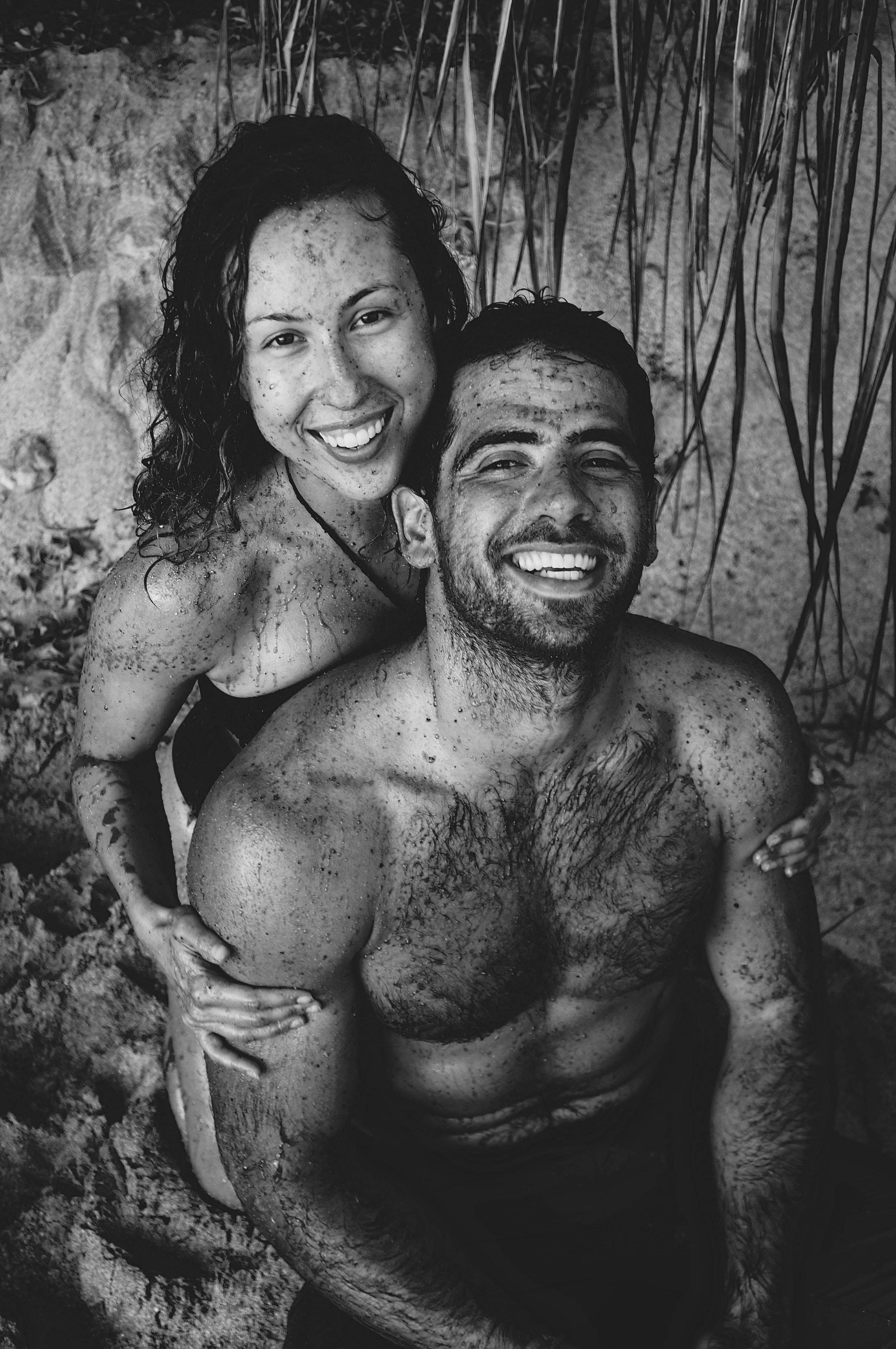 Sweet couple enjoying the chocolate scrub together on Maui