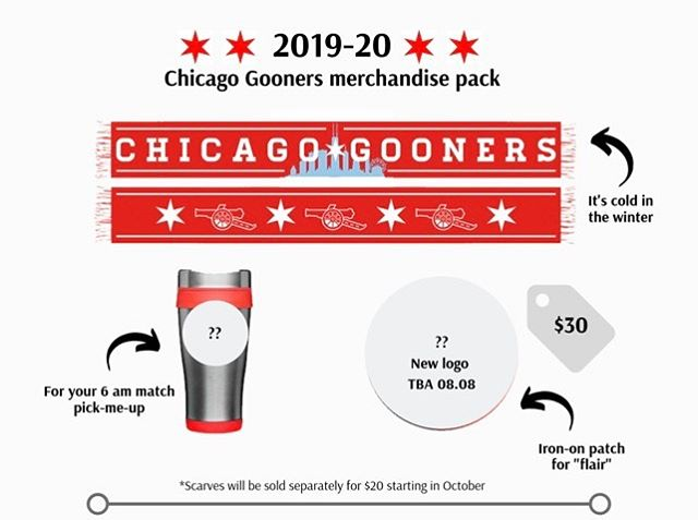 🚨 We're still waiting until 08.08.19 to reveal our new logo — but check out our new scarf design, for sale as part of our 2019/20 merchandise pack NOW! 🚨 • Limited quantities of merch packs. Link to purchase in bio. • #chicagogooners #chicago #jamitinthere #afc