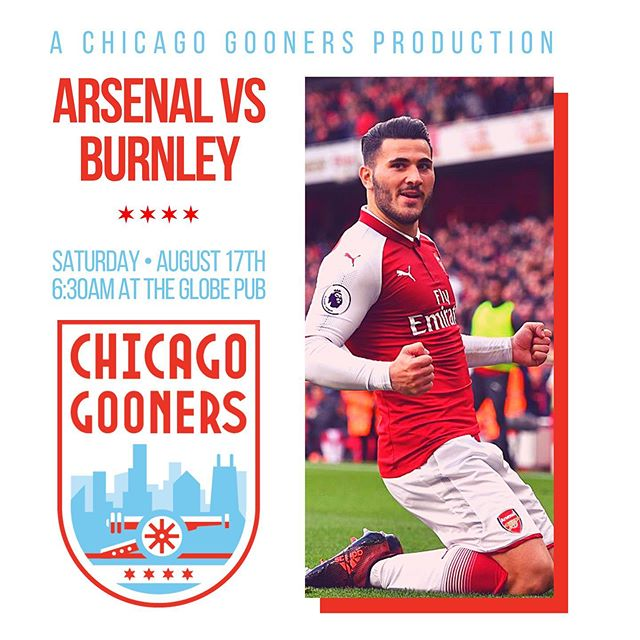 Join us at @theglobepubchicago this Saturday as we take on Burnley! #COYG #ChicagoGooners #Arsenal #AFC #Gooners #Gunners