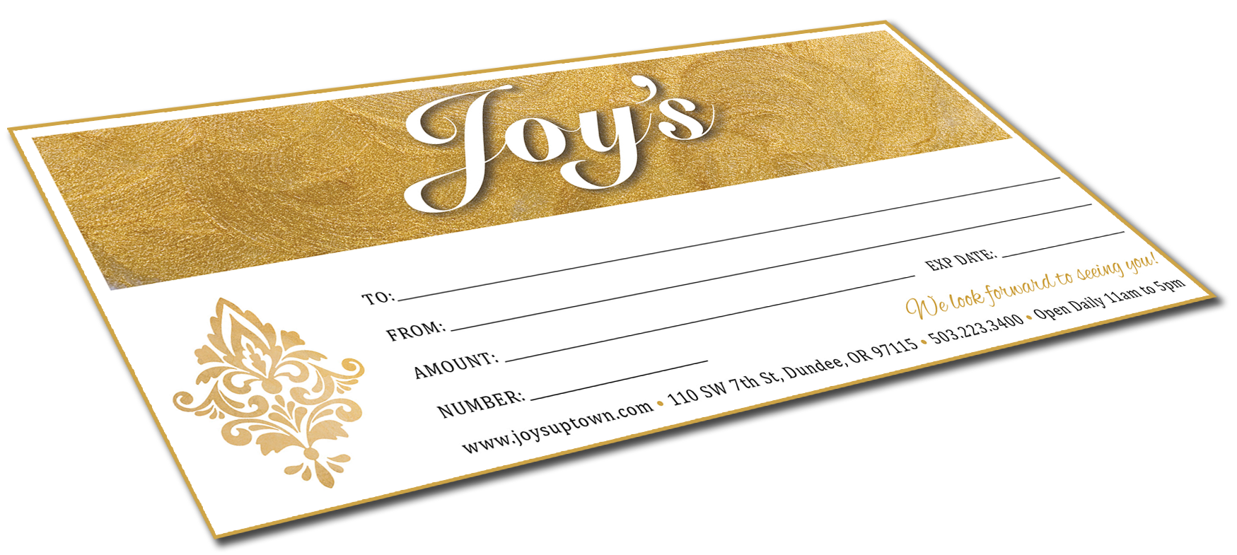 When in doubt...  Joy's Gift Certificates  make the PERFECT gift!