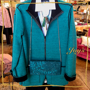 Stunning Blue Jacket with Black Accents