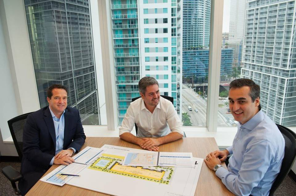 Scott F. Pryce, founder and CEO of TRX Investments; Luiz Augusto Faria do Amaral, co-founder and CEO of TRX Group; and Fernando Fiuza de Souza, managing director of TRX Investments and founder and managing partner of TRX Residential. Photo via MiamiHerald.com
