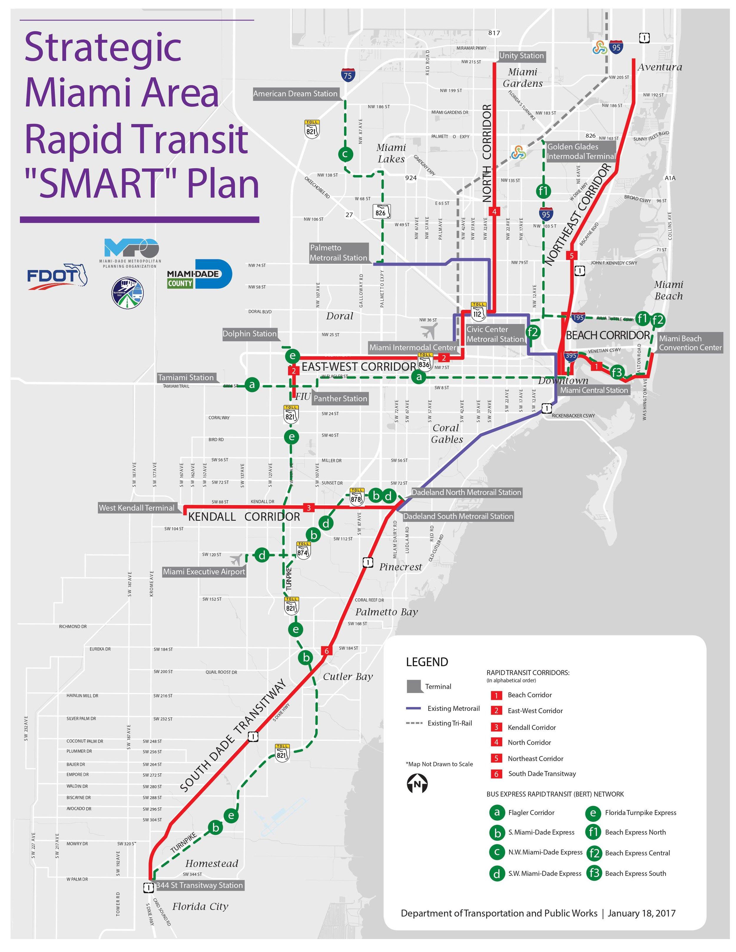 Rapid Transit SMART Plan Expansion Miami Public Transportation