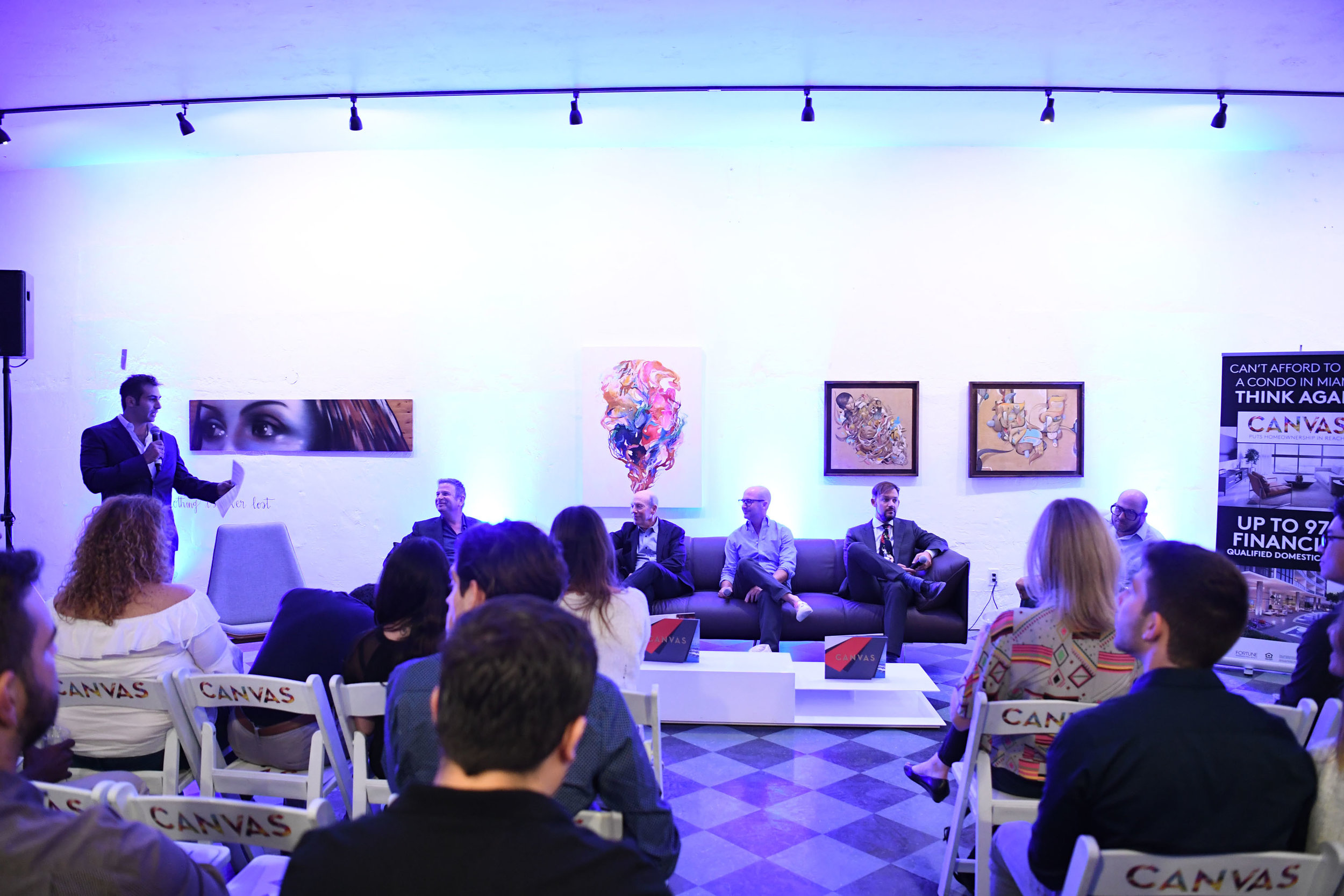 Demetri Demascus, Nir Shoshani, Steven Gretenstein, David Polinsky, Jeremy Calleros Gauger, & Gary Ressler speaking Inside PROFILEmiami's Art in Public Places Panel Event Featuring Leaders from City of Miami, A+E District, Design District and Wynwood