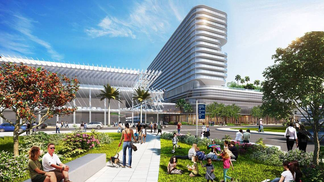Renderings of the Miami Beach Convention Center Hotel via: Miami Beach Connect.