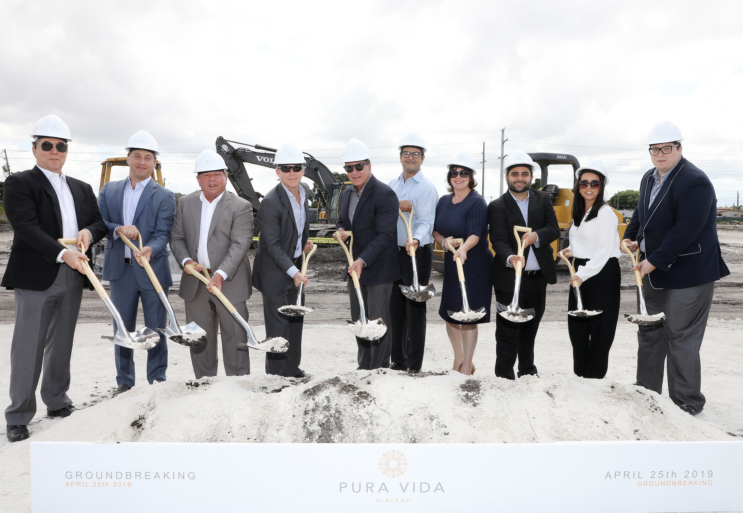 From L-R: Stephen A. Blumenthal, Principal of Coral Rock Development Group; David Brown, Principal of Coral Rock Development Group; Michael Wohl, Principal of Coral Rock Development Group; Victor Brown, Principal of Coral Rock Development Group; City of Hialeah Mayor Carlos Hernandez; Oscar Rodriguez, Arena Capital Holdings; Hialeah City Council President Vivian Casals-Munoz; City of Hialeah Councilman Paul Hernandez; Ana Rodriguez, Arena Capital Holdings; and Sebastian Roiter, Arena Capital Holdings