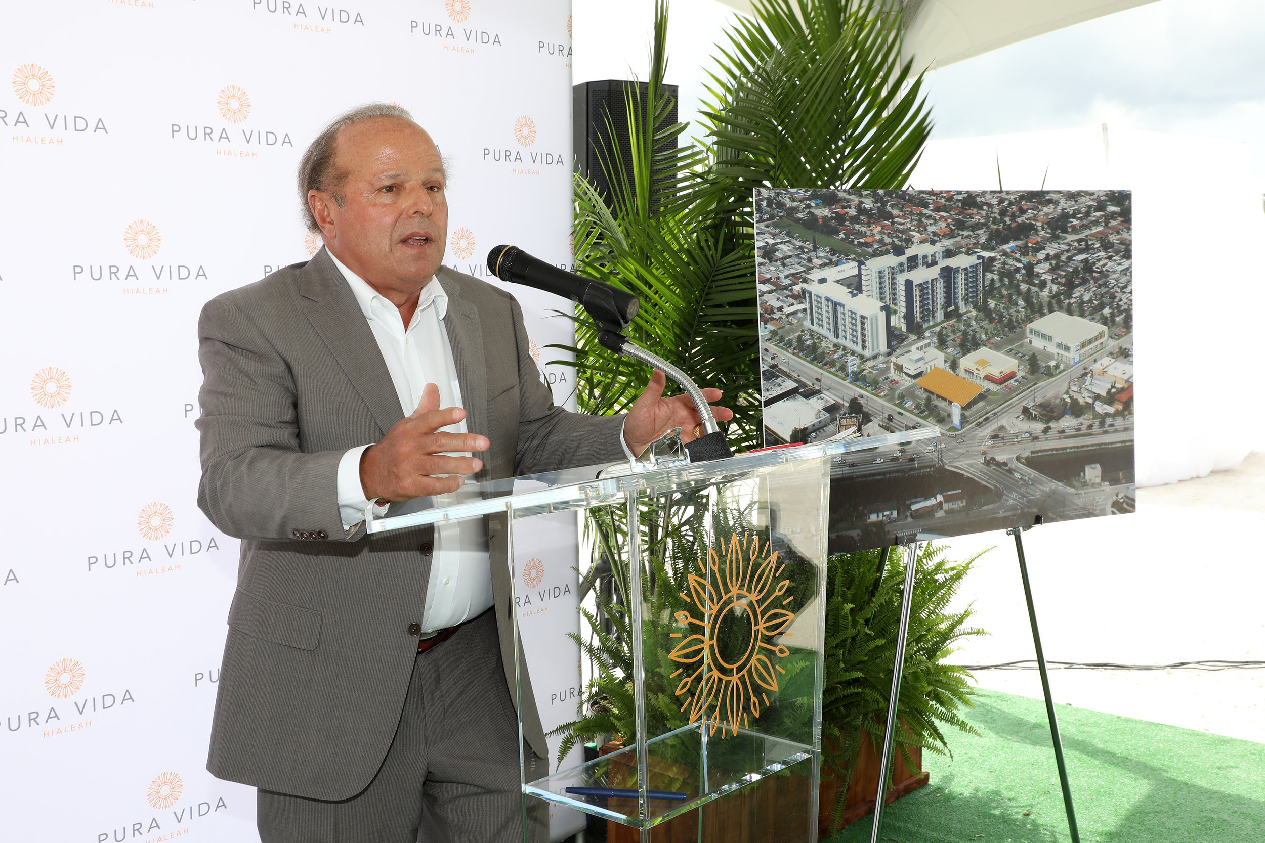 Michael Wohl, Principal of Coral Rock Development Group, addresses the crowd at the groundbreaking for Pura Vida Hialeah