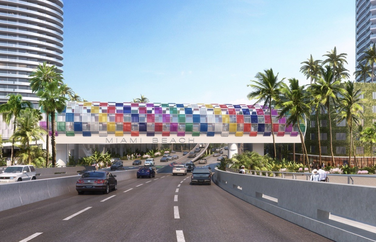 Design By Daniel Buren For South Beach's New Pedestrian Bridge Over 5th Street Revealed