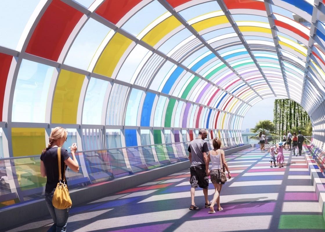 Design By Daniel Buren For South Beach's New Pedestrian Bridge Over 5th Street Revealed