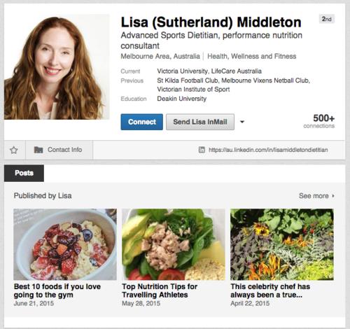 Lisa Middleton - LinkedIn profile