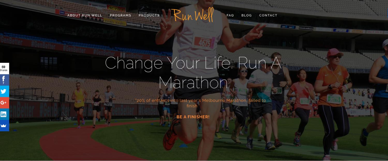 Run Well website by Social Star