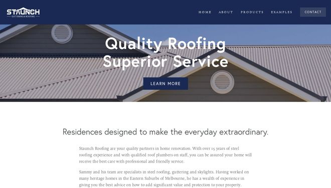 Staunch Roofing website by Social Star
