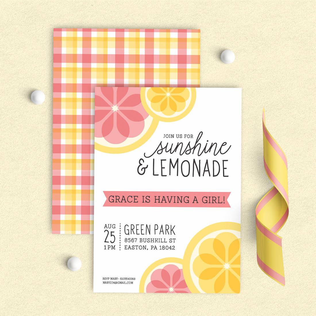 Pink Lemonade Shower Invitation