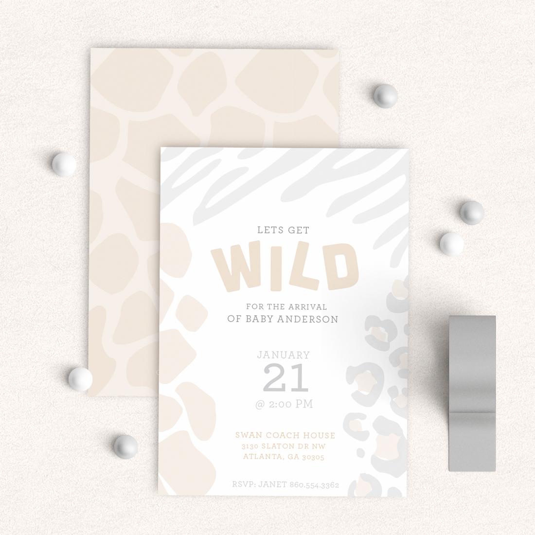Wild  Safari Baby Shower Invitatiom