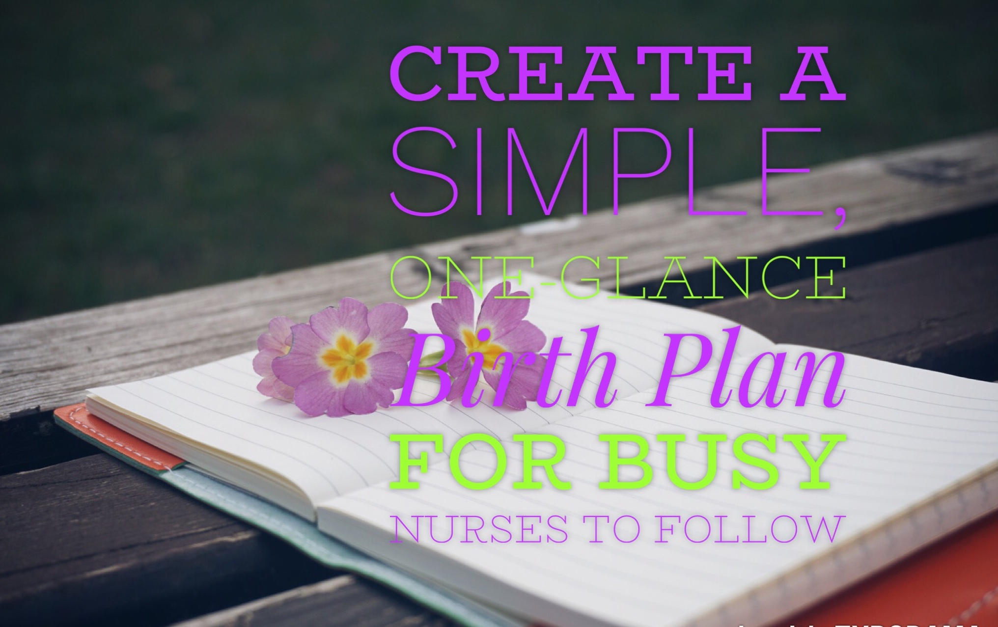 HOW TO CREATE A SIMPLE, ONE-GLANCE  BIRTH PLAN  FOR BUSY NURSES TO FOLLOW