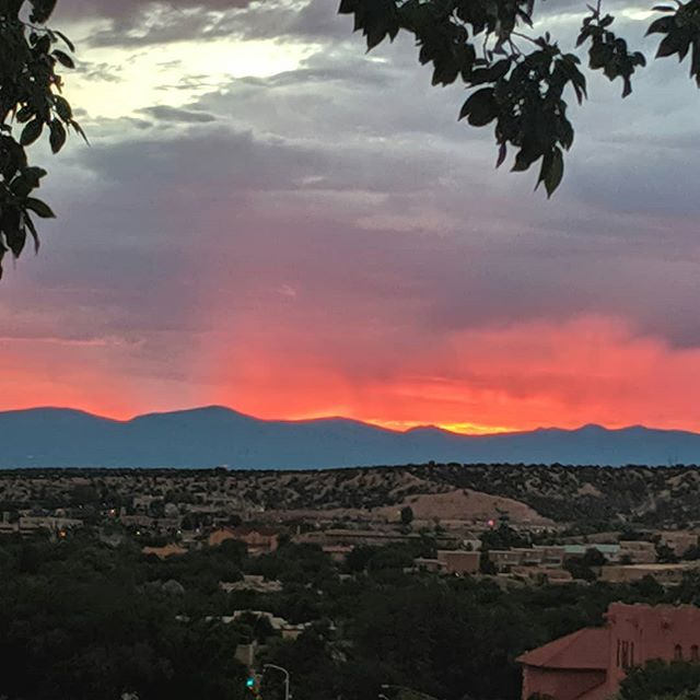 Greetings from Val & lee - Monsoon season in Santa Fe, this is our first Sunset here that wasn't raining.