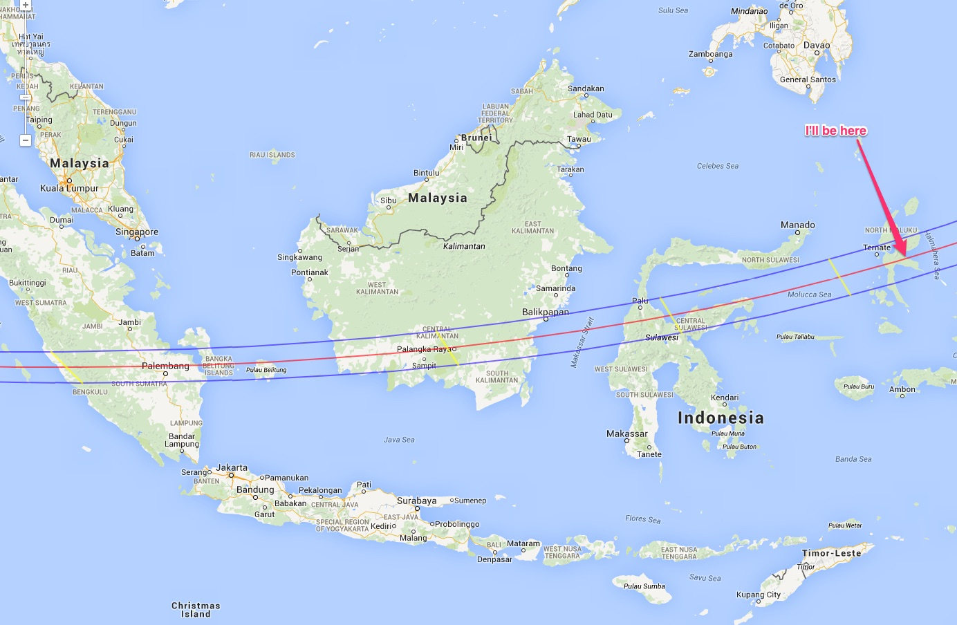 There were only a few options for landfall on this eclipse. You study weather and access and just make a choice! I found the perfect couchsurder host, so TERNATE was my destination.