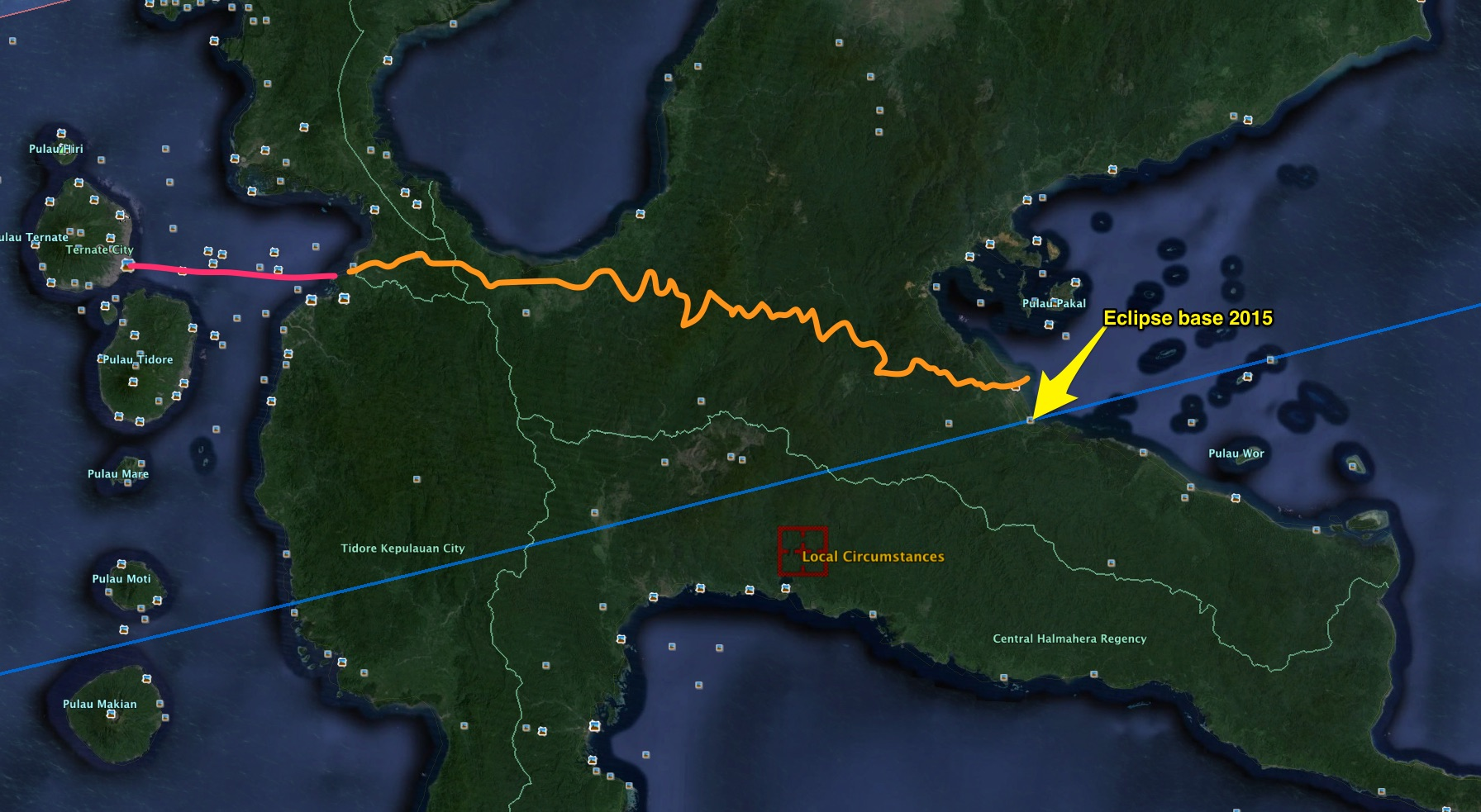 Landed on the little volcanic island of Ternate on left and then speedboated (pink line) to a car and driver (orange) Indra arranged, to drive for HOURS on a twisty, pothole dirt road to Maba in the east for a quick sleep -- eclipse was tomorrow!!!! PHEW!!!!