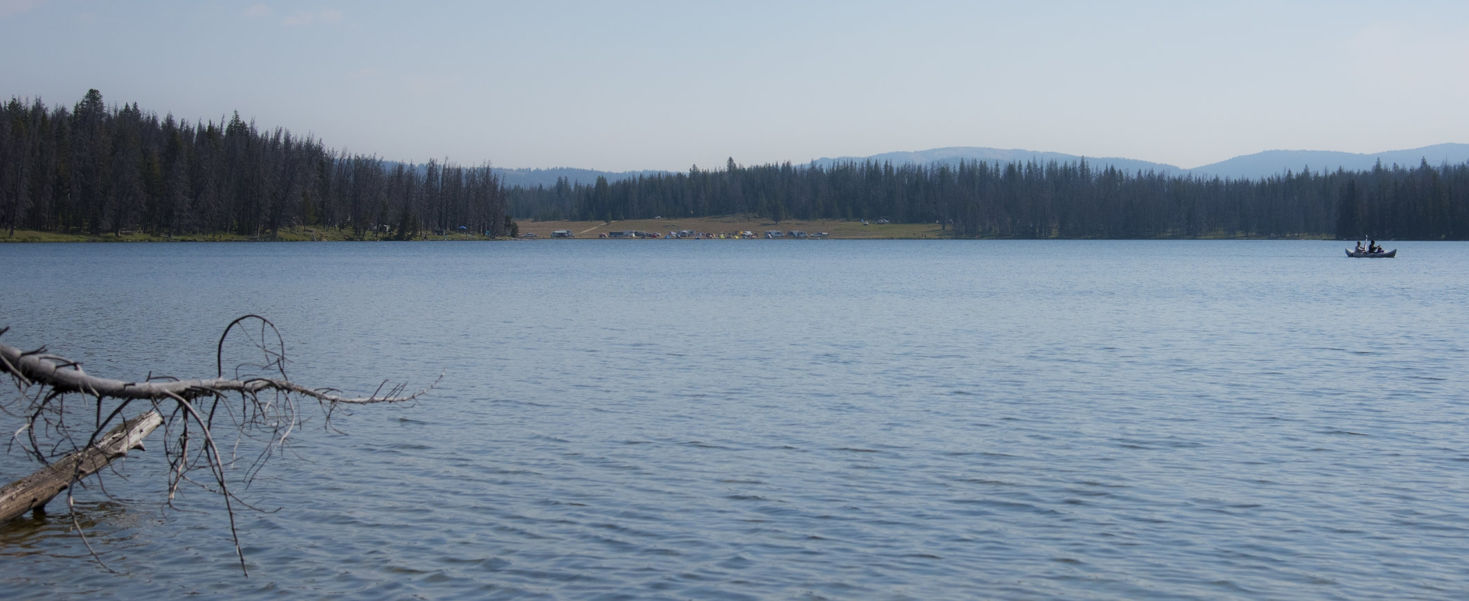 Way over there across the lake is eclipse camp!!    Karen Adair