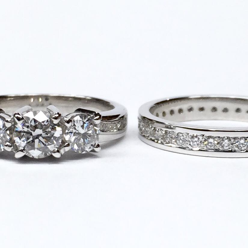 Handmade white gold diamond engagement and wedding ring set.